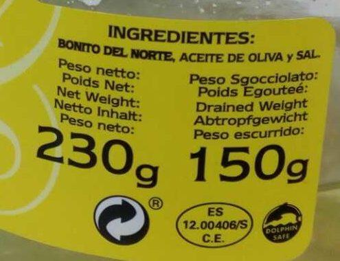 Bonito del norte - Ingrediënten - es