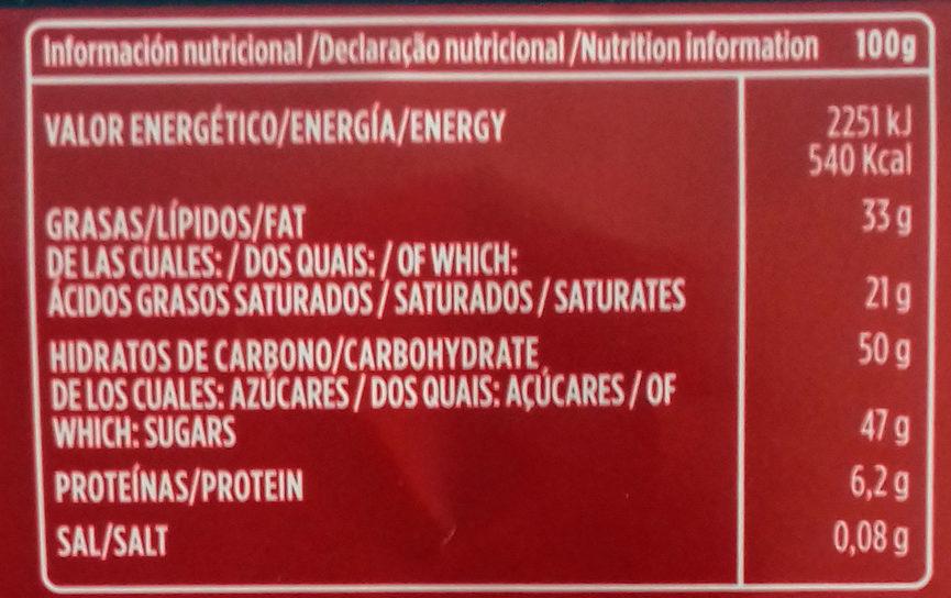 Chocolate puro 52% cacao - Voedingswaarden - es