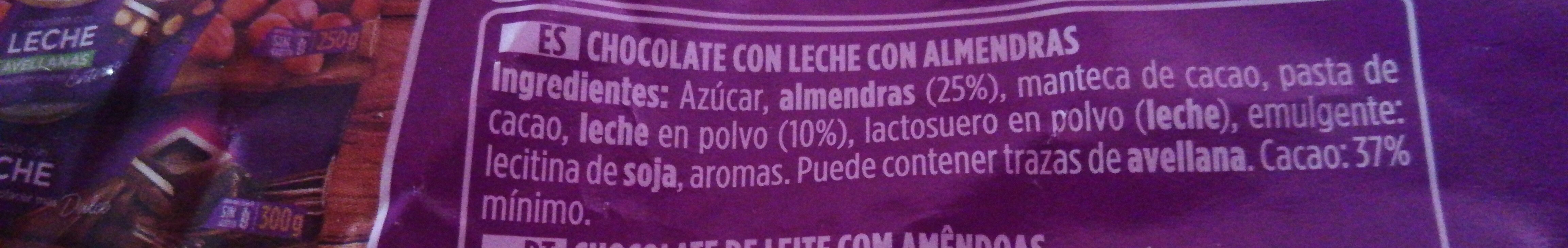 Valor Xoco Llet Ametll - Ingredients