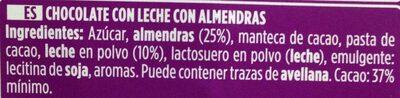 Chocolate con leche almendras - Ingrediënten - es