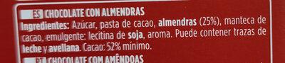 Chocolate puro con almendras - Ingredients - es