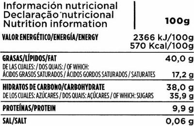 Chocolate puro con almendras sin gluten - Nutrition facts