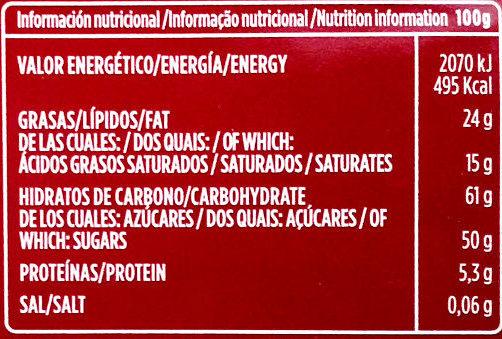 Chocolate para hacer a la taza - Información nutricional - es