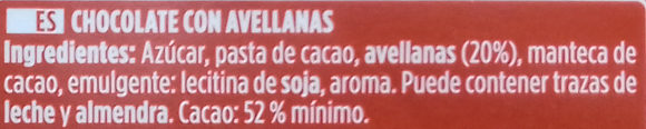 Chocolate puro avellanas 52% cacao - Ingredients - es