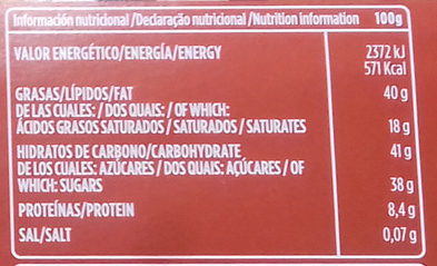 Chocolate puro avellanas 52% cacao - Nutrition facts - es