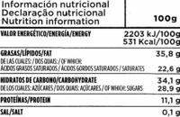 Tableta de chocolate negro 70% cacao - Información nutricional - es