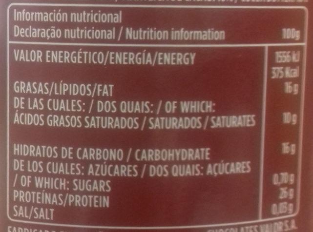 Cacao puro en polvo desgrasado - Información nutricional