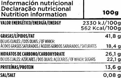 Tableta de chocolate negro con almendras 70% cacao - Información nutricional