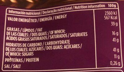 Chocolate con leche y almendras - Informació nutricional