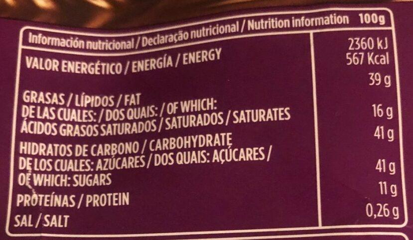 Chocolate con leche y almendras - Informació nutricional - es