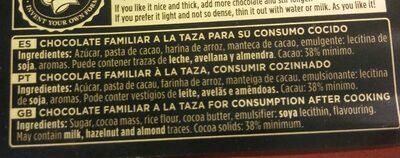 Chocolate Valor a la taza - Informació nutricional - es