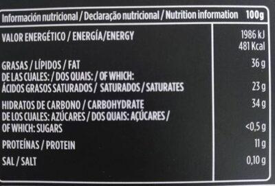 70% Chocolate negro  valor 0% azucares aladidos - Información nutricional - es