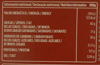 Chocolate puro almendras especial - Voedingswaarden - es