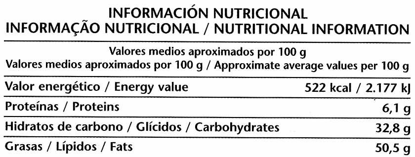 Tableta de chocolate negro 52% cacao - Información nutricional - es