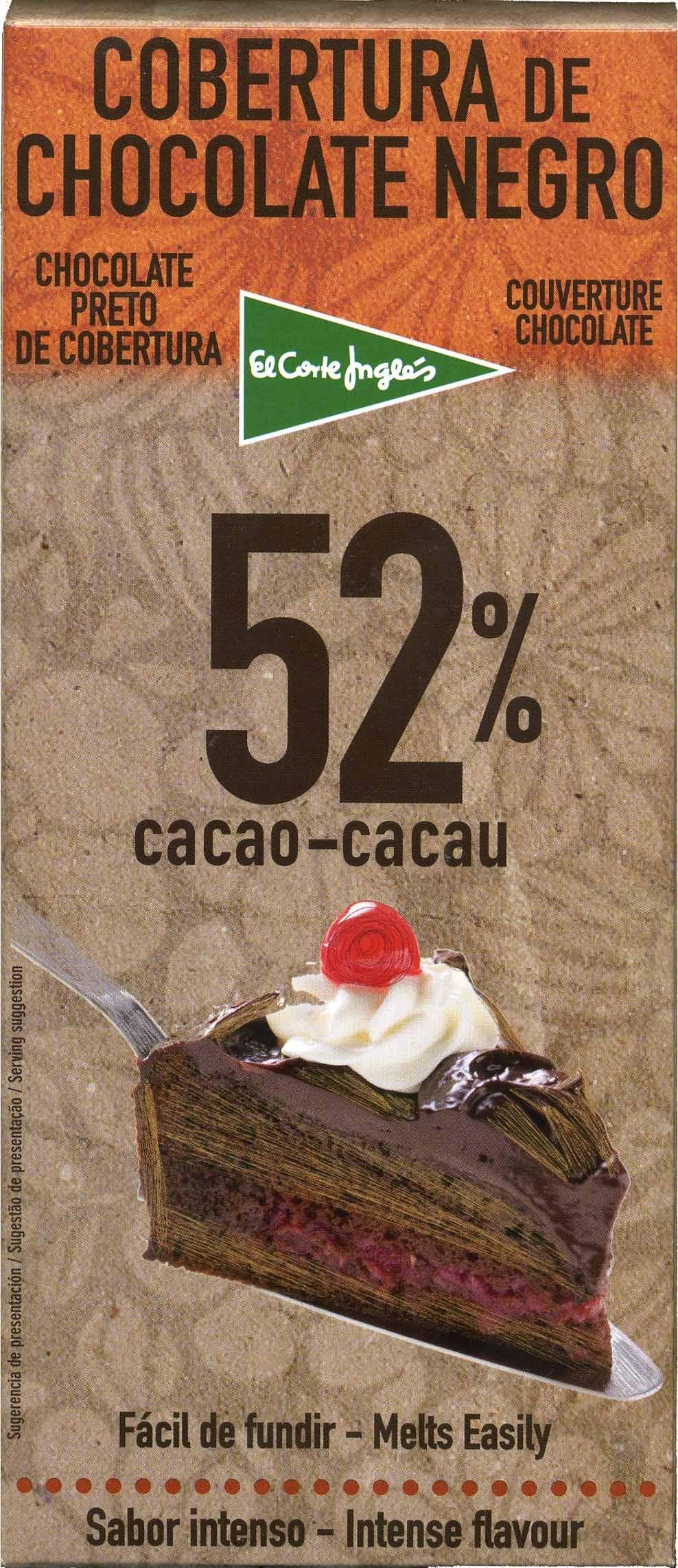Tableta de chocolate negro para cobertura 52% cacao - Product - es