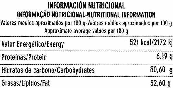 Tableta de chocolate negro para cobertura 52% cacao - Nutrition facts - es