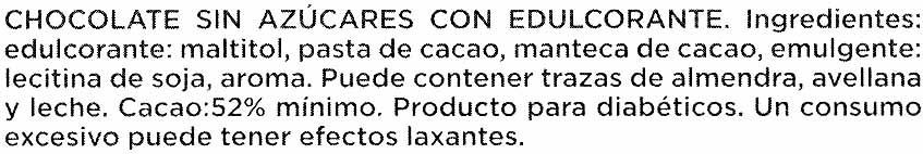 Chocolate 0% Azucares añadidos - Ingredientes