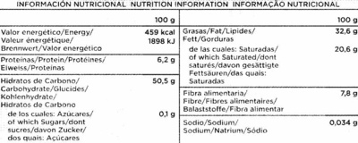 Chocolate 0% Azucares añadidos - Información nutricional
