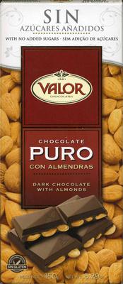 Tableta de chocolate negro con almendras edulcorado 52% cacao