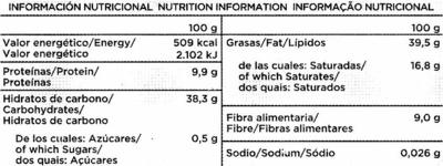 Tableta de chocolate negro con almendras edulcorado 52% cacao - Información nutricional