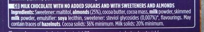 Chocolat lait amandes sans sucre ajouté - Ingrediënten