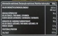 Chocolate negro mousse de naranja - Nutrition facts