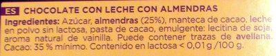 Chocolate con leche y almendras sin lactosa - Ingredientes