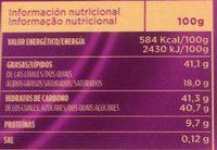 Chocolate con leche y almendras sin lactosa - Información nutricional