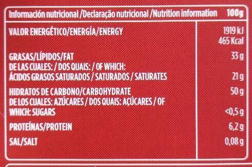 Xocolata Pur Valor Sense Sucre - Informations nutritionnelles - es