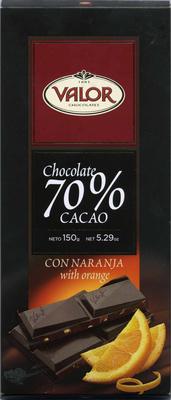 Chocolate negro 70% cacao con naranja - Producto