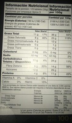 Valor, dark chocolate, 70% cocoa, chocolat noir - Nutrition facts - en