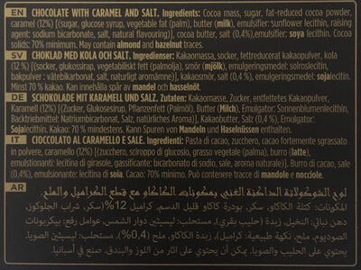Chocolates 70% Cacao Dark Chocolate with Caramel and Sea Salt - المكونات - fr