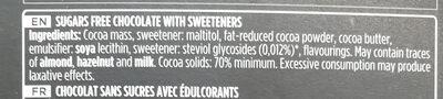Chocolate negro 70% sugar free - Ingrediënten - en