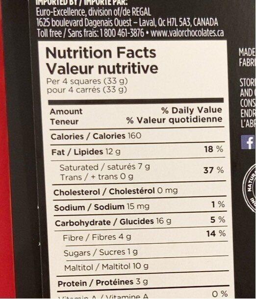 Chocolat - Voedingswaarden - en
