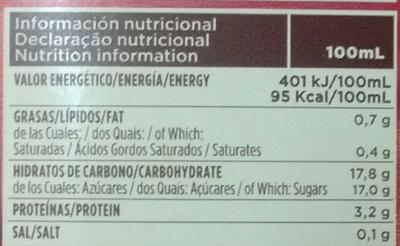 Chocolate a la taza listo para tomar - Información nutricional