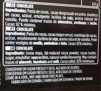 Chocolate negro 82% - Ingrédients - fr