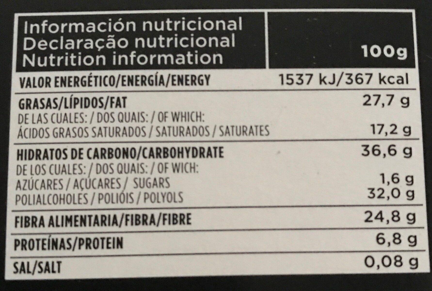 Chocolate negro suave - Voedingswaarden - es