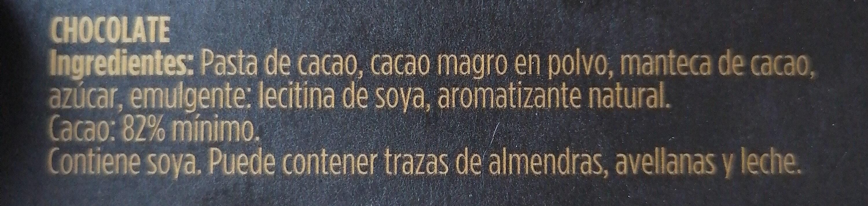 chocolate 82% cacao - Ingrediënten - es