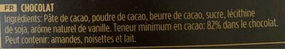 chocolate 82% cacao - Ingrédients - fr