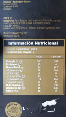 chocolate 82% cacao - Voedingswaarden - es