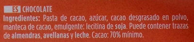 Chocolate negro 70% - Ingredientes