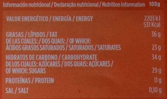 Chocolate negro 70% - Información nutricional