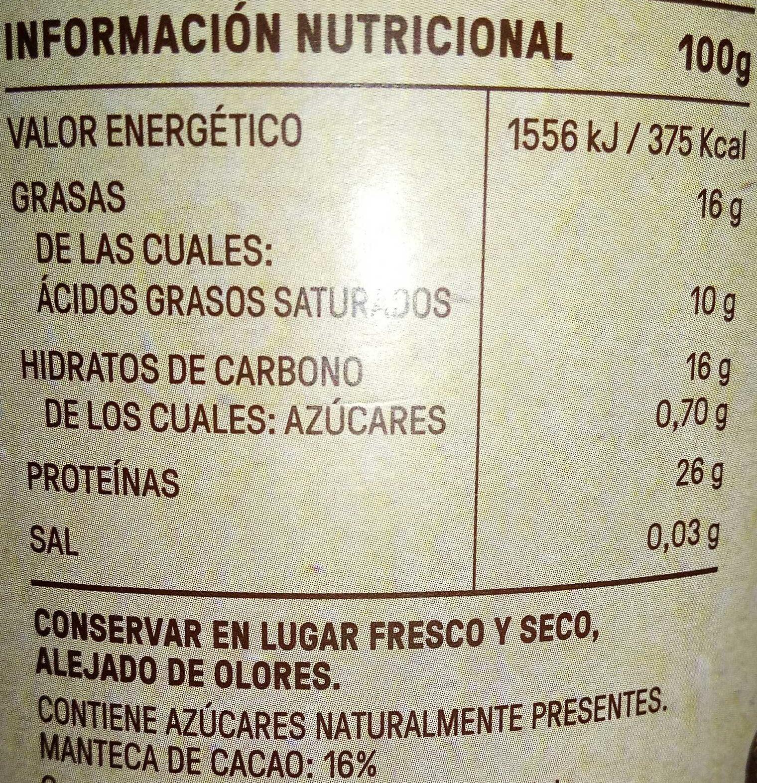 Cacao puro 0% - Хранителна информация - es