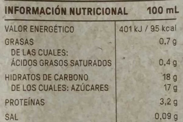 A La TAZA - Información nutricional