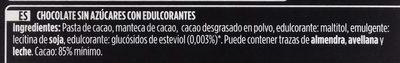 Chocolate negro 85% 0% Azúcares añadidos - Ingredients - es