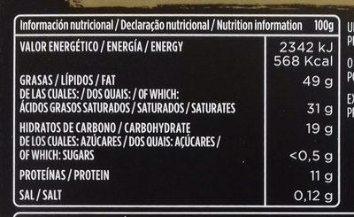 Chocolate negro 85% 0% Azúcares añadidos - Nutrition facts - es
