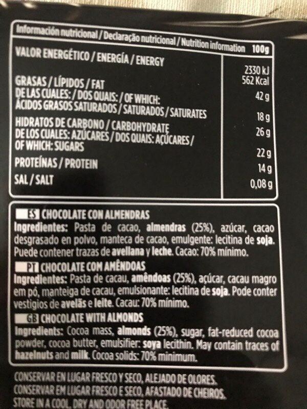 Chocolate negro 70% - Ingredientes - es
