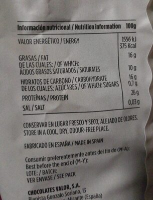 Cacao puro en polvo desgrasado - Voedingswaarden - es