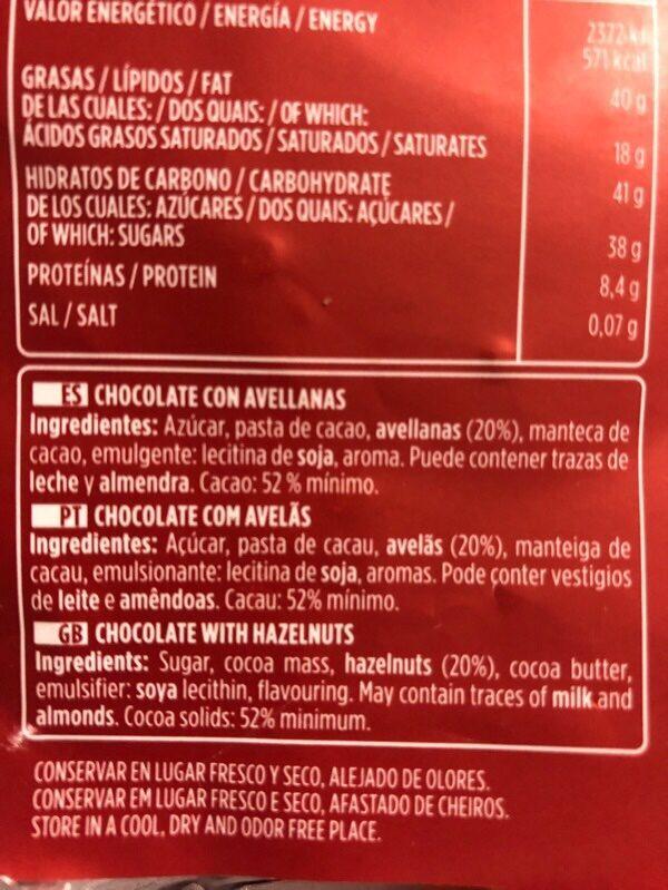 Chocolate puro avellanas valor - Ingrediënten - es