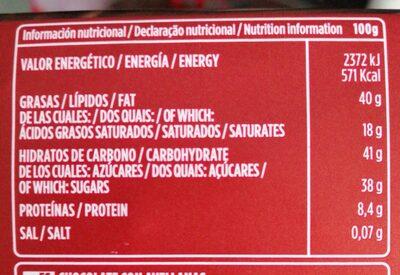 Chocolate puro avellanas valor - Voedingswaarden - es